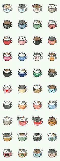 Neko cat kitty coffee mug tea mug kawaii Nian café ❤ melhor lugar Chat Kawaii, Arte Do Kawaii, Kawaii Cat, Kawaii Stuff, Kawaii Things To Draw, Kawaii Names, Crazy Cats, Cute Wallpapers, Trendy Wallpaper