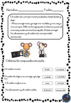 Fichas para trabajar la comprensión lectora - Imagenes Educativas Kids Learning Activities, Kids And Parenting, Acting, Homeschool, How To Plan, Education, Reading, Teaching Spanish, Teaching