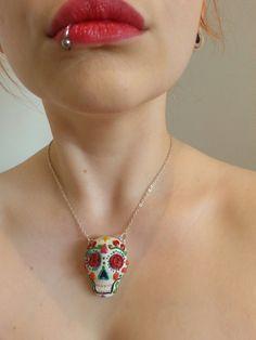 Sugar Skull - Dia de los muertos - day of the dead skull - polymer clay necklace on Etsy, $31.37