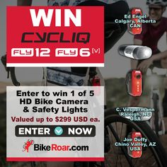 WIN 1 of 5 Cycliq All-in-one HD Bike Camera 📹 and Safety Lights 🚨 valued up to $299 USD each.   ENTER NOW → http://bike.roa.rs/lp/33252/Cycliq-Fly6-Fly12?utm_content=buffereac42&utm_medium=social&utm_source=pinterest.com&utm_campaign=buffer.   #fly6 #fly12 #bike #camera #light #cycling #safety Cycliq