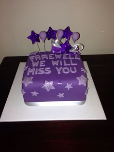 Farewell cake  Purple and sliver