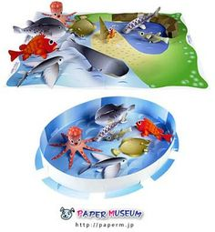 Aquatic Animals Papercraft Set ~ Paperkraft.net - Free Papercraft, Paper Model, & Papertoy. I like the template and you could use this with a card. Cllick on link for templates.  http://paperkraft.blogspot.ca/2009/02/aquatic-animals-papercraft-set.html