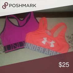 3df51e3d9e0 Under Armour Girl's Sport Bras Under Armour Girl's Lot of 2 Sport Bras Like  New! Pulm/Navy (no tag with size but is slightly bigger than the other).