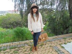 #ombre hair, #fedora, #ankle boots, #cream blouse, #satchel, #gold arm candy #statementnecklace #fashionblogger