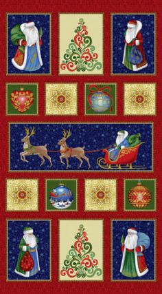 "Father Frost Santa Christmas Panel Quilt Fabric 24"" x 44"" 