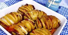 A hasselback burgonyát már többször készítettem, köretként vagy csak úgy melegen vajjal megkenve eszegetve. Ez adta az ötletet hogy mi len... Potato Recipes, Baked Potato, Sausage, Potatoes, Meat, Baking, Vegetables, Ethnic Recipes, Food