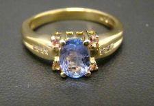 14K YELLOW GOLD RING OVAL .85 CARAT TANZANITE PINK SAPPHIRES DIAMONDS SIZE 6.25