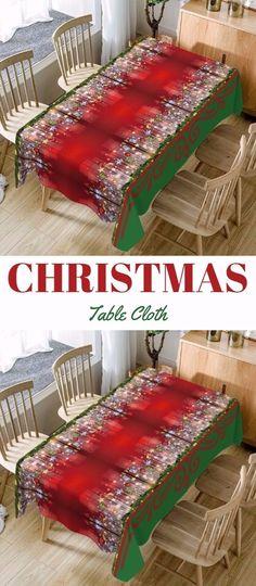 Christmas Hanging Ornaments Print Waterproof Fabric Table Cloth
