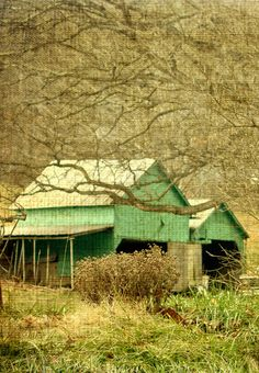 .one of my favorite barns...love the green and old tin roof.