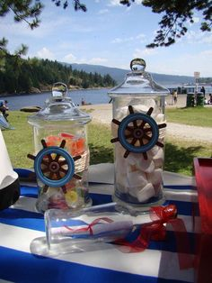 Candy jars at a Nautical Party - candy in a side jar like a message in a bottle Baby Birthday, Birthday Parties, Sailor Birthday, Birthday Ideas, Baby Shower Themes, Baby Boy Shower, Sailor Baby Showers, Sailor Party, Party Fiesta