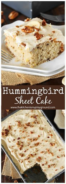 Hummingbird Sheet Cake with Caramel Cream Cheese Frosting ~ All the hummingbird deliciousness of the classic layer cake, in low-fuss sheet cake form. #hummingbirdcake #cake #sheetcake #thekitchenismyplayground www.thekitchenismyplayground.com
