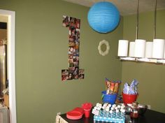 """Art First Birthday Party - Results of my Pinning: Here is the """"1"""" we made out of photos. gage-1st-birthday-surfer-beach-theme"""