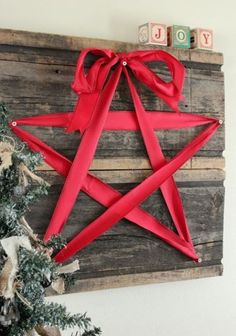 Star Ornaments for Your Christmas Decoration Ideas: Wooden Material Ideas Applied On Christmas Decorating With Stars Gorgeous Ideas Equipped With Concrete Wall Idea ~ SQUAR ESTATE Design Ideas Inspiration