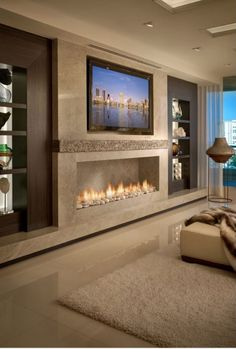 Bedroom Fireplace, Tv In Bedroom, Home Fireplace, Living Room With Fireplace, Fireplace Design, Modern Bedroom, Fireplace Modern, Bedroom Ideas, Fireplace Ideas