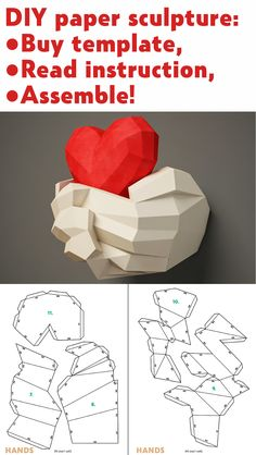 Paper craft Hands with Heart Papercraft wall decor DIY gift love valentines day paper model sculpture pdf template kit pepakura - Sculpture - Print the sulpture yourself - DIY paper sculpture Hands & Heart Papercraft template Diy Gifts Love, Diy Love, Paper Crafts Origami, Paper Crafting, Diy Origami, Papier Diy, 3d Wall Decor, Diy Wall, Decor Diy