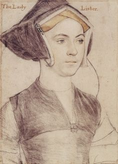 Hans Holbein the Younger - Lady Lister A portrait drawing of Lady Lister, her precise identity is unknown. A bust length portrait facing three-quarters to the right. Inscribed in an eighteenth-century hand at upper left and right: The Lady. Tudor History, Art History, Hans Holbein Le Jeune, Illustrations, Illustration Art, Mode Renaissance, Hans Holbein The Younger, Tudor Fashion, Renaissance Portraits
