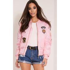 Joya Pink Utility Badge Bomber Jacket (345 MXN) ❤ liked on Polyvore featuring outerwear, jackets, pink, utilitarian jacket, patch jacket, flight jacket, shiny jacket and blouson jacket