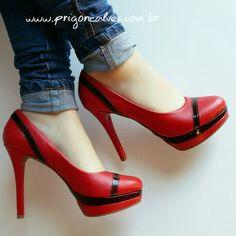 Meia pata vermelha super estilosa!  Ref: 209 Vendas: ▶Pelo site: www.prigoncalves.com.br ▶(62) 98208-9296