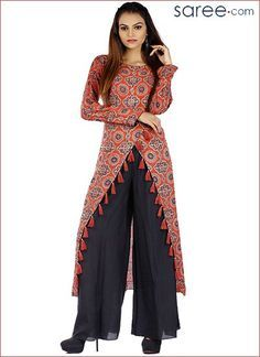Red Cotton Printed Suit - 9 Fusion tunics or flared Anarkalis, what is your kurta style? Read up on trendy and latest ethnic tunic designs to update your Salwar Suit wardrobe. Tunic Designs, Kurti Neck Designs, Kurta Designs Women, Designs For Dresses, Saree Blouse Designs, Designer Party Wear Dresses, Kurti Designs Party Wear, Indian Designer Outfits, Trendy Sarees