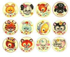 Print these off - Cute babies baby animals Free Bottle Cap Images by Folie du Jour Puppy kitten