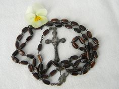 "Vintage Catholic Italy Roma Glass Oblong Brown Variegated Bead Rosary Mary 18"" 1920s Art Deco, Catholic, Athlete, Marble, Bronze, Christian, Italy, Statue, Beads"