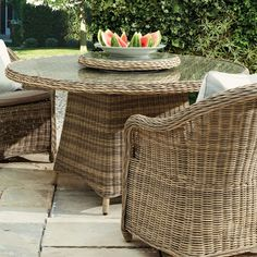 Bembridge Outdoor Dining Table, Rattan - Light Grey