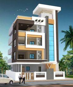 Narrow House Designs, Modern Exterior House Designs, Exterior Design, 3 Storey House Design, Bungalow House Design, Modern Bungalow, Residential Building Design, Home Building Design, 3d Building
