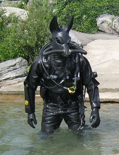 """tyrannosaurus-rex: """"i know this is fetish but honestly in a completely non horny way this slaps hard as hell, i would be pleased as porkchops to fight this in a video game """" Scuba Diver Costume, Latex Men, Diving Suit, Scuba Diving Gear, Diving Equipment, Tyrannosaurus Rex, Anubis, Character Design, Batman"""