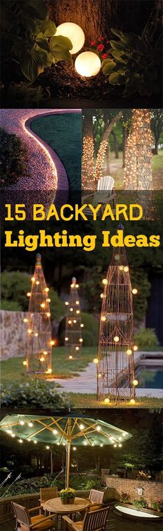 Backyard Lighting: 15 Backyard Lighting Ideas Lighting ideas for your yard. Lots of different types of lighting for your backyard or landscape and patio. The post Backyard Lighting: 15 Backyard Lighting Ideas appeared first on Outdoor Ideas. Backyard Projects, Outdoor Projects, Backyard Patio, Garden Projects, Backyard Landscaping, Backyard Playground, Diy Projects, Landscaping Ideas For Backyard, Backyard Trees