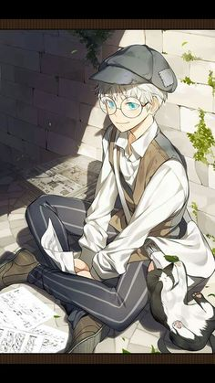 Anime Guy | White Hair | Blue Eyes | Paper Boy | Glasses