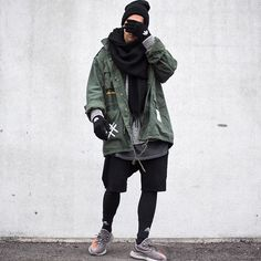 3 stripes again and again @wex1200. today im wearing a grey sweatshirt by @zara, grey long tshirt by @hm, jacket by @rothco_brand, shorts by @topman, socks/gloves/men legging by @adidas and shoes by @kanyewest 350 beluga. good day everybody