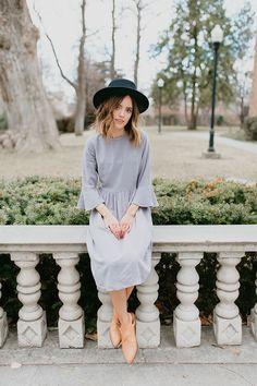 The Newport Ruffle Sleeve Dress in Grey
