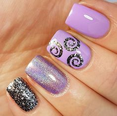 Pastel purple triple accent manicure by /madhattermh/ using our Small Whirlpool Nail Vinyls found at http://snailvinyls.com