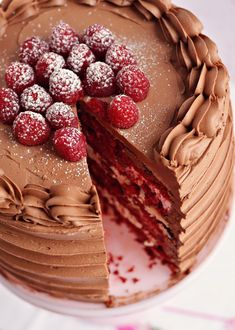 Red Velvet is great and all. The zing of the fruit gives the chocolate in the cake a nice kick. Red Velvet & Raspberry Supreme Cake via Sweetapolita. Just Desserts, Delicious Desserts, Yummy Food, Dessert Healthy, Sweet Recipes, Cake Recipes, Dessert Recipes, Recipes Dinner, Dinner Ideas