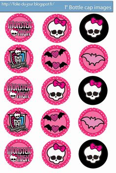 Monster High Birthday Party - Part Haunted Drink Station . Monster High Crafts, Festa Monster High, Monster High Birthday, Monster High Party, Bottle Cap Art, Bottle Cap Images, Bottle Top, Bottle Cap Projects, Bottle Cap Crafts