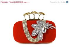 Red Bridal Clutch Knuckle Clutch Minaudiere by WhiteAisleBoutique, $103.20