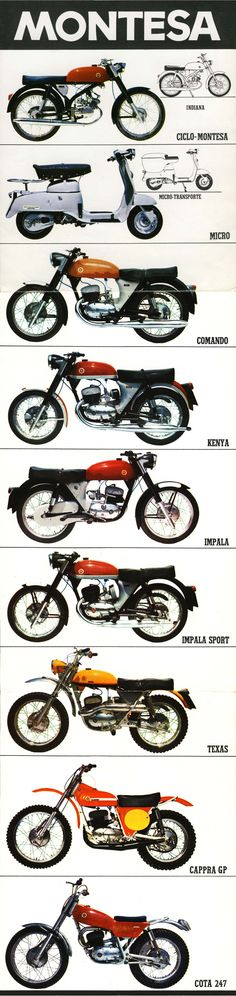 Montesa. Brochure interior Vintage Cycles, Vintage Bikes, Vintage Motorcycles, Cars And Motorcycles, Motorcycle Posters, Motorcycle Engine, Rockers, Bobber, Style Cafe Racer
