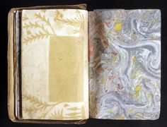 Sheets of silhouette and marbled papers from an Album Amicorum, Prague 1600. The marble is certainly European, the silhouette paper probably Turkish.
