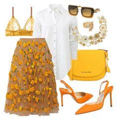 """floral skirt (outfit)"" by gogotasha ❤ liked on Polyvore featuring MICHAEL Michael Kors, STELLA McCARTNEY, rag & bone, Michael Kors, Judy Geib, Manolo Blahnik, Miu Miu and Gorjana"
