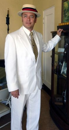 Mens 1920s white summer suit