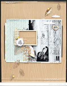Scrapbooking Kits, Paper & Supplies, Ideas & More at StudioCalico.com! Wood veneer frame and elements, gold feather