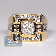 Mens Diamond Square Signet Ring 14K Yellow Gold 1.57 ct