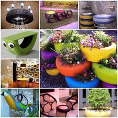 Ideas of how to reuse and recycle old tires.