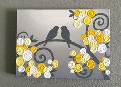 Art pariétal, jaune et gris texturé oiseaux et fleurs, peinture acrylique sur toile