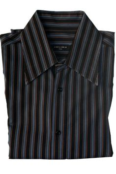 cd58ecf3 Equilibrio Italia Long Sleeve Black Blue Brown Button Front Striped Cotton  Shirt #Equilibrio #ButtonFront