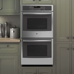 The GE 27-inch Built-in Double Convection Wall Oven. The piece is built with durable stainless steel and features a flat black finish for a streamlined look. According to Federal Law Magnuson-Moss War