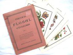 8 vintage floral prints - beautiful set for framing! Botanical prints, flower pictures, L. Tessier artist, Paris Etching Society