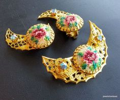 Vintage SET Brooch Pin Earring Clip On Flower Rose Fabric AB Rhinestone RARE 138