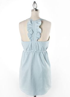 Seersucker razor back dress with ruffle strap detail (the front is classic and totally flattering). LOVE Judith March.