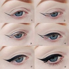 Steps to make the perfect eyeliner (cat eye). But... damn that must be a super skinny liquid eye liner pen.